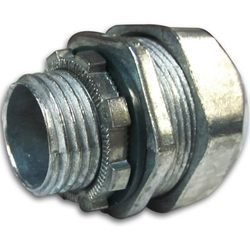 "1/2"" Zinc Plated Liquid Tight Straight Connector with Insulated Throat"